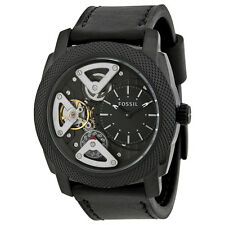 Fossil Twist Automatic Skeletal Dial Black Leather Mens Watch ME1121