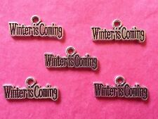 """Tibetan Silver """"Winter is Coming"""" Charms x 5 - Game of Thrones themes"""