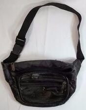 Elegance 3 Pocket Black Fanny Pack Patchwork Look