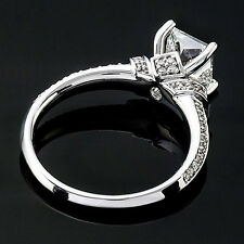 2 CT PRINCESS CUT DIAMOND ENGAGEMENT RING VS/D ENHANCED 14k WHITE GOLD