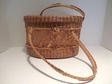 Vintage Lace Wicker Straw Woven Lined Purse Basket Handles Hinged Lid 50s 60s