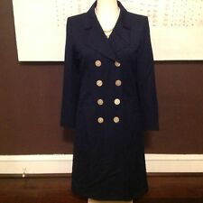 Yves Saint Laurent Vintage  Navy Blue Coat Wool Dress Size 40/U.S. 8