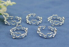 wholesale lots 10P  925sterling solid Silver Heart Design toe rings Adjustable