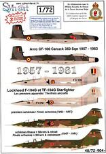 Syhart Decals 1/72 BELGIAN 350 SQUADRON 1957-1981 CF-100 & F-104 Starfighter