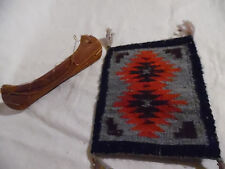 Vintage Mini Native American Indian Rug And Mini Birch Wood And Sinew Canoe