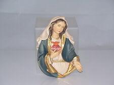 Holzschnitzerei HERZ MARIA BRUSTBILD Color Wanddeko H 10,5cm. Madonna geschnitzt