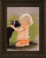 MARY HAD A LITTLE by Lesley Harrison 17x21 FRAMED PRINT PICTURE Girl Child Goat