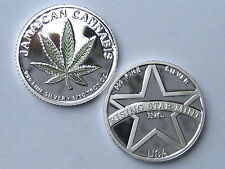 1/10th Troy Oz Pure .999 Solid Silver Jamaican Green Leaf Cannabis Bullion Coin
