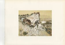 """1972 Vintage HUNTING """"BETTER THAN BACON, 1905"""" ANTELOPE HUNTER Color Lithograph"""