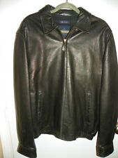 Mens NAUTICA Soft Black Leather Bomber Coat Motorcycle Jacket Lined Sz 42 EUC