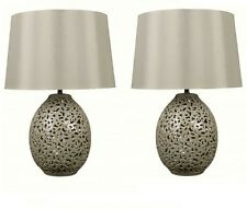 Pair of Tall Cream Cut Out Design Bedside Lounge Table Lamps Light With Shades