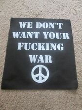 Peace Punk War Back Patch - Riot Grrrl - Horror - Punk - Hardcore.
