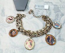 Vintage Andersen PILGRIM Bracelet Pin-Up Girls Charm Swarovski Gold/Brown BNWT