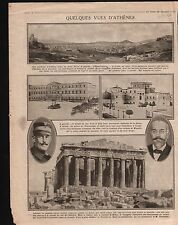 WWI Parthenon Temple Athens Athènes/Map Carte Combles la Somme 1916 ILLUSTRATION