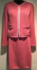 St John Suit Size 2 Light Pink Womens 2pc Knit Suit Jacket and Skirt Perfect