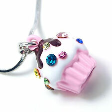 Small Light Pink Cupcake Charm Pendant Necklace