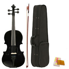 New 4/4 Full Size Acoustic Violin Fiddle Black with Case Bow Rosin