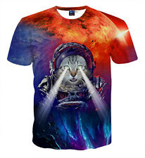 Women Men 3D Print Deep-sea Explorers Cat Funny T-shirt Tee Short Sleeve Tops XL