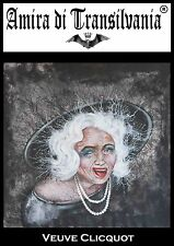 Veuve Clicquot merry widow smile old woman portrait serigraph painting on canvas