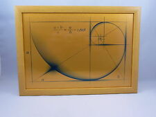 Fibonacci Golden Ratio Design on Brushed Gold Metal with Frame.. Made in the UK