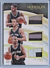 2015-16 Immaculate Tim Duncan Tony Park Ginobili Triple Patch #ed 06/10 Spurs