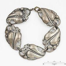 Antique Vintage Art Deco Sterling Silver Repousse Organic Leaf Estate Bracelet!
