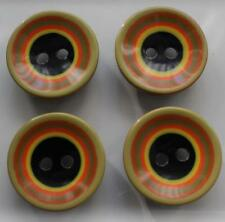 4 black lime orange yellow concentric circle unusual design buttons 34mm huge