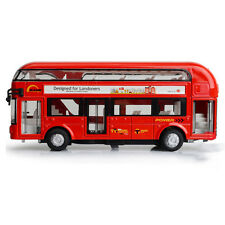 Red Double-Decker Tour City Bus Pull Back Sound and light Metal Car Kid Toy Gift