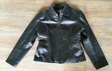 Women's GENUINE LEATHER Size L Large Black GUESS Zipper Jacket Slimming