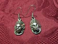 Pierced Silvertone Indian Mask Earring Pair Wires