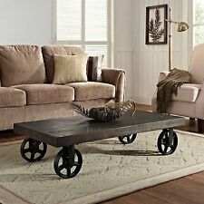 Vintage Coffee Table Industrial Rustic Cart Wheeled Black Wood & Metal New