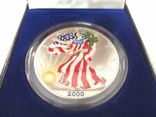 2000 Painted American Eagle .999 Fine Silver Dollar 1 Troy Ounce With Box & COA