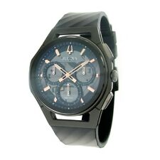 Bulova 98A162 CURV Chronograph Black and Titanium Watch  NWT BOX & PAPERS