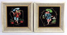 Vintage Pair of Mid Century Moss Tile Asian Framed Art Tiles Geisha Girls Japan