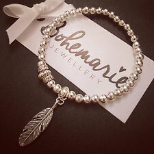 Silver plated feather charm bracelet gemstone bijoux jewellery boho gypsy