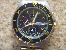 Men's PULSAR Chronograph Watch Two Tone with Black Bezel and Dial!  Great Watch!