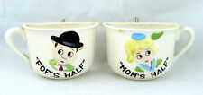 Mom and Pops Half Cup Ceramic Wall Pockets Sons Co. Japan Vintage