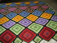 Vintage Crochet Granny Square Afghan Throw Blanket Multi Color Black Purple Red