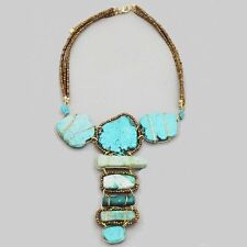 Anthropologie TURQUOISE STONE Necklace BOHO STATEMENT Large BIB Collar NEW