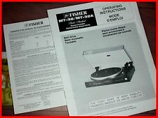 Fisher Model MT-32/MT-32A Operating MANUAL Belt-Drive Semi-Automatic Turntable