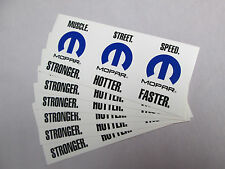 Lot of 6 MOPAR Decals Stickers Labels Muscle Street Speed Stronger Hotter Faster