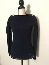 Ralph Lauren Cotton Cable Knit Sweater Womens Small Black Gold Buttons New