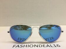 RayBan Authentic LightRay Aviator Clear/Blue Mirrored RB4211 646/55 Sunglasses