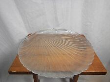 """Large Pressed Glass Scalloped Clam Shell Serving Plate 13"""""""