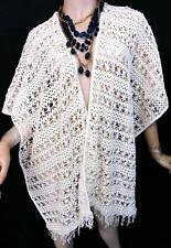 MAURICES IVORY SEE TROUGH FRINGE FLORAL PONCHO SWEATER ONE SIZE 1X, 2X, 3X