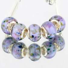 Purple pink flowers 5pcs MURANO glass bead LAMPWORK fit European Charm Bracelet