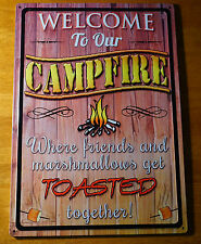 WELCOME CAMPFIRE Where Friends & Marshmallows Get Toasted LODGE CABIN SIGN NEW