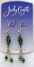 JODY COYOTE Sterling Silver green aqua dangles EARRINGS Pierced ear wire  NEW