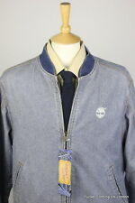 TIMBERLAND MENS JACKET COAT MEDIUM DENIM BOMBER DISTRESSED WEATHERGEAR ZIP UP