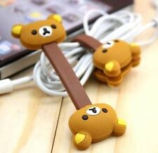 FD4905 Brown Rilakkuma Relax Bear Earphone Cable Bobbin Winder Organizer 1pc
